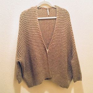 Free People Tan/Brown Slouchy Knit Sweater